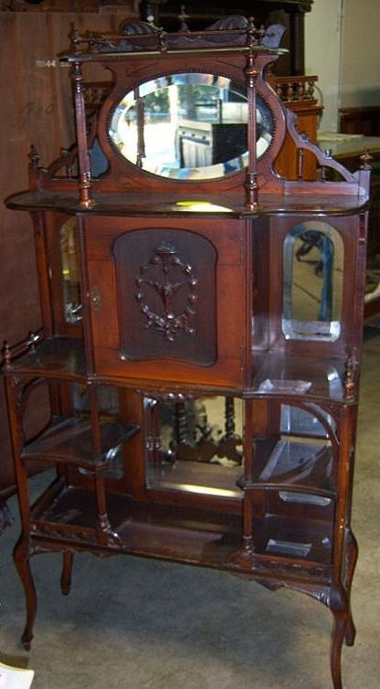 Victorian Etagere With Mirror Galleries Shelves Carved
