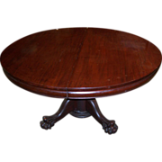 Mahogany Chippendale Style Round Dining Table, 7 Leaves