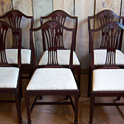Mahogany Dining Chairs, Hepplewhite, Sheraton Style, Set of 10