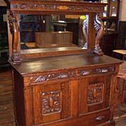 SALE Oak Sideboard, Winged Griffins, Carving