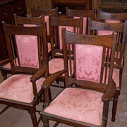 Walnut Dining Chairs 1890 Set of 8,