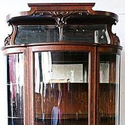 Oak Curved Glass China Cabinet w Hooded Mirror
