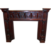Fireplace Mantle with Overmantle, 13 feet tall, Carved, Cherrywood