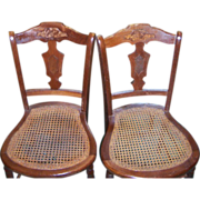 Victorian Cane Seat Dining Chairs, Walnut Burl Paneled, Set of 8