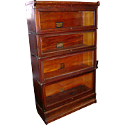 Antique c1900 Signed Globe Wernicke  Solid Quartersawn Oak Barrister Stacking Bookcase