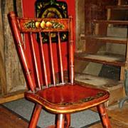 Genuine Peter Ompir American Folk Art Hand-Painted Antique 19thC Side Chair