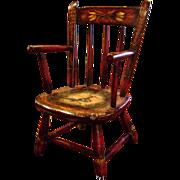 Genuine Peter Ompir American Folk Art Hand-Painted Antique 19thC Child's Chair