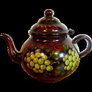 Signed Peter Ompir [1904-1979] American Folk Art Hand-Painted Antique Metal Teapot