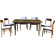 c1960 Mid-Century Modern Ostervig Solid Rosewood Rectangular Dining Table w 2 Leaves and 6 ...