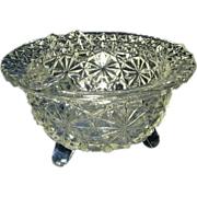 REDUCED Daisy and Button Clear Glass Footed Ashtray