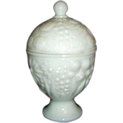 REDUCED Avon Milk Glass Domed Footed Covered Dish 1960s