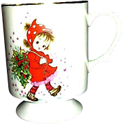 SALE Lefton Exclusives Footed Cup Christmas Girl in Red with Holly