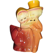 SALE Dancing Couple Figural Planter in Amber, Rose, and Burgundy Colors