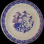 SALE Royal China English Ironstone Windmill Plate Blue and White