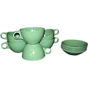 Stetson Turquoise Melamine Melmac Cups and Dessert Bowls
