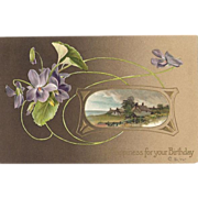 1910 Embossed German Birthday Post Card ~ Florals & Cottage Scene
