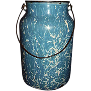 SALE Blue Swirl Granite Ware Graniteware Milk Can