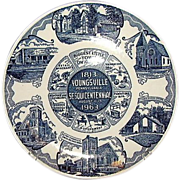 SALE Youngsville Pennsylvania Blue and White Souvenir Plate by Kettle Springs Kilns 1963