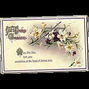 """1912 Embossed """"Easter Series"""" Post Card No. 504 ~ Printed in Germany"""