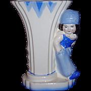 Charming Dutch Boy Vase Blue and White Japan