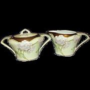 SALE Art Deco German Porcelain Sugar Creamer Set 18K Gold Trim 1920s Handpainted Signed