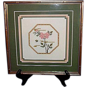 Framed Needlework  Triple Matted Florals Counted Cross Stitch, 1985
