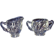 EAPG Clear Glass Creamer and Open Sugar Set ~ MINT