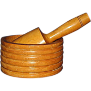 Wooden Mortar & Pestle, Ribbed Maple Wood