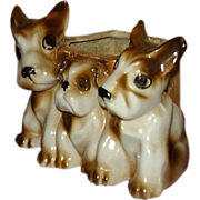 Three Scottie Dogs Planter, Japan Lusterware