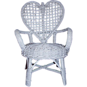 Wicker Doll Chair Heart Back 9 Inches Tall Miniature