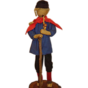SALE Folk Art Man with Clogs, Walking Stick, Basket Backpack, German