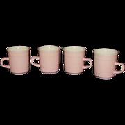 Pink Stoneware Mugs, Set of 4  Made in Japan