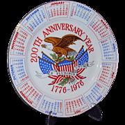 Bicentennial Plate Red White Blue USA 200th Anniversary 1776-1976
