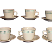 REDUCED Homer Laughlin Restaurant Ware Cups Saucers Turquoise Geometric Best 6 sets