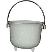 SOLD Milk Glass Three Toed Bucket with Bail Handle ~ Unique!