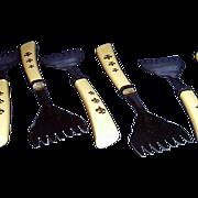 Fleur-de-lis Handle Cocktail Serving Forks Set of 6 Stainless Steel USA