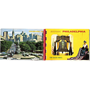 Philadelphia Souvenir Folder 10 Historic Color Miniature Photos 1950-60s
