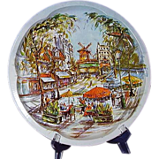 1970s Daher Ware Tray  Montmartre District Paris, Moulin Rouge, Moulin de la Galette Windmill
