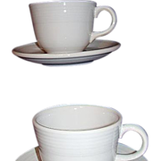 SALE Fiesta Homer Laughlin White Cups and Saucers Two Sets 1980s