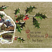 1913 Christmas Embossed Post Card Snowy Cottage by Lake Scene with Boat