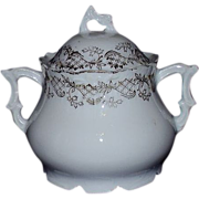 Porcelain Covered Sugar Bowl Demi or Tea Set Size ~ Gold Accents on All White