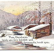 1917 Christmas Postcard Owen Card Snowy Log Cabin Scene