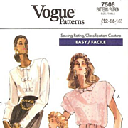 1989 Vogue Loose-Fitting Pullover Chic Blouse Pattern 7506 Misses Sizes 12-14-16