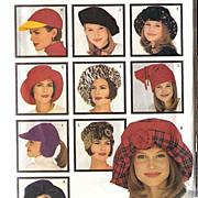1993 Butterick Fashion Hats Pattern 3055 ~ 9 Different Fabulous Styles ~ S-M-L