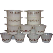 REDUCED Dynaware Pyr-O-Rey Brown Daisy Custard Cups and  Casseroles - 15 pieces