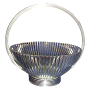 SALE Ribbed Clear Crystal Bowl with Round Silver Plated Base and Handle