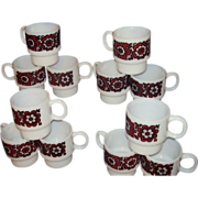 SOLD Milk Glass Stacking Mugs Set of 12 Red and Black Flower Designs