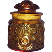 Amber Moon and Stars Glass Tea Canister with Lid