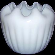 Translucent Milk Glass Rose Bowl with Ruffled Edge