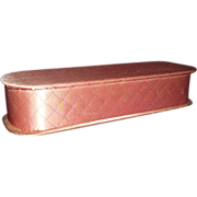 Glove Box Pink Quilted Satin 1950-60s Vanity Storage Box